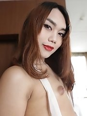 Slim ladyboy with small tits gets made up for her date and a facial from her tourist friend